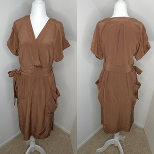 Anthropologie Maeve brown Silk Dress Size 10